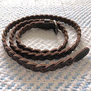 Hollister Dark Brown Braided Leather Belt